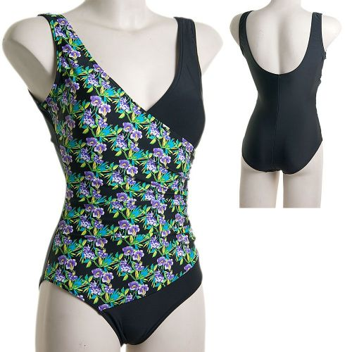 Beachcomber Crossover Swimsuit - Black Floral